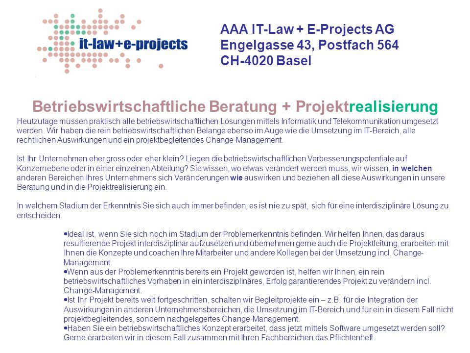 Betriebswirtschaftliche Beratung + Projektrealisierung