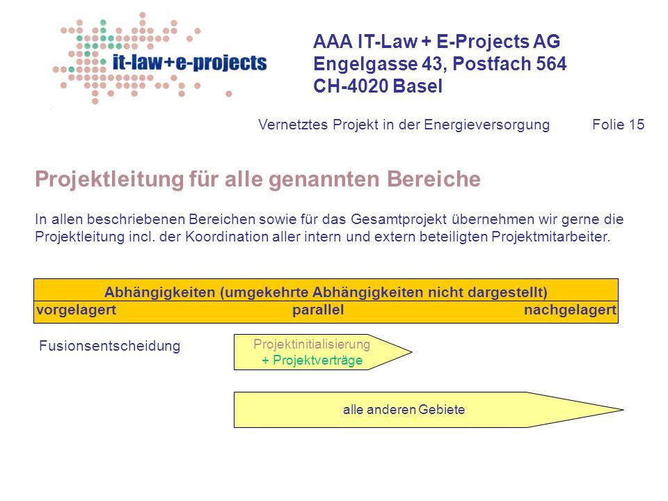 Projektleitung für alle genannten Bereiche