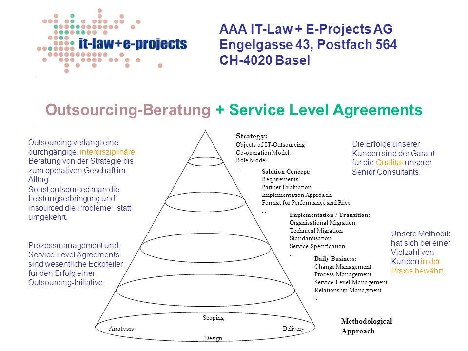Outsourcing-Beratung + Service Level Agreements