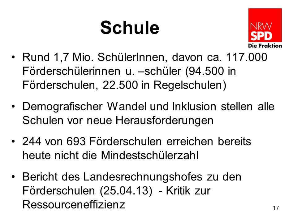 Schule Rund 1,7 Mio. SchülerInnen, davon ca. 117.000 Förderschülerinnen u. –schüler (94.500 in Förderschulen, 22.500 in Regelschulen)