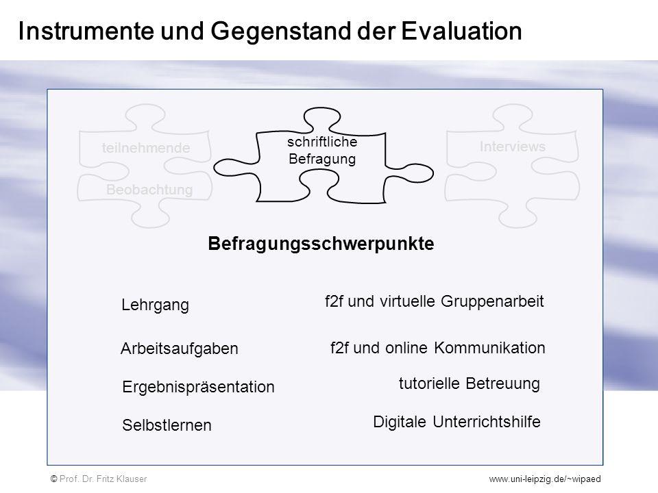 Instrumente und Gegenstand der Evaluation