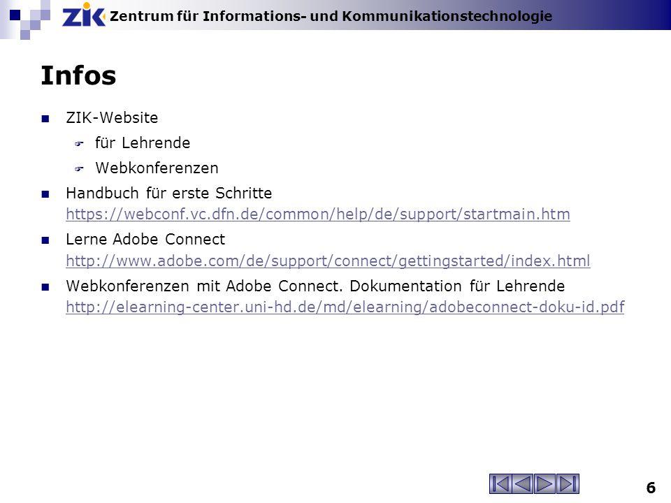 Infos ZIK-Website für Lehrende Webkonferenzen
