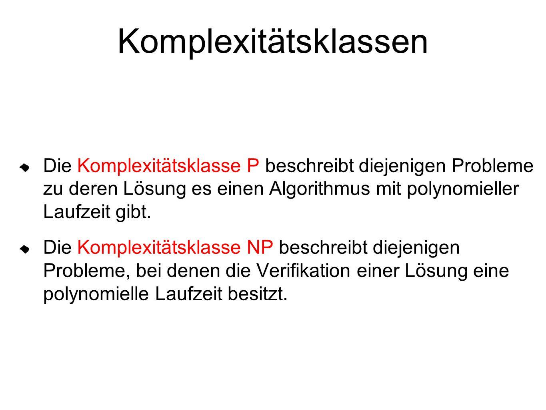 Komplexitätsklassen Die Komplexitätsklasse P beschreibt diejenigen Probleme zu deren Lösung es einen Algorithmus mit polynomieller Laufzeit gibt.