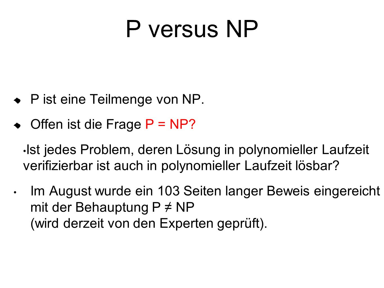 P versus NP P ist eine Teilmenge von NP. Offen ist die Frage P = NP
