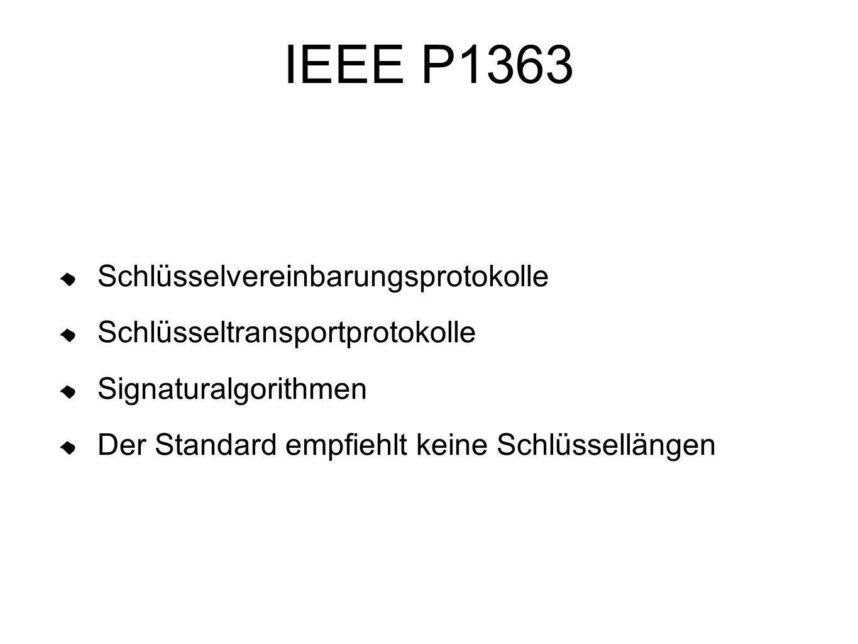 IEEE P1363 Schlüsselvereinbarungsprotokolle
