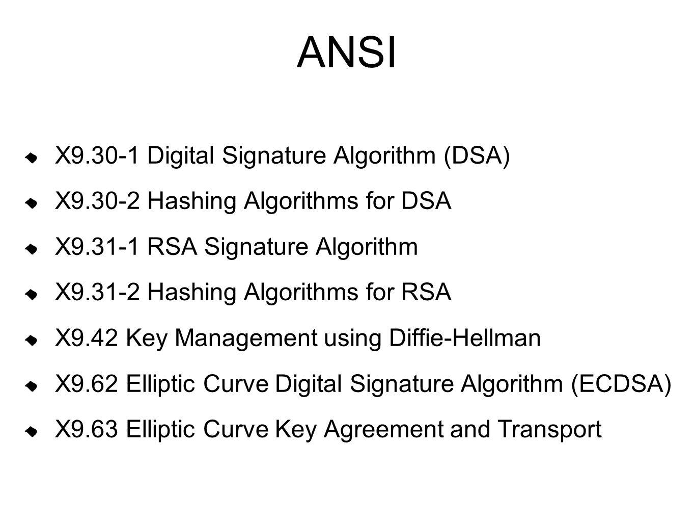 ANSI X9.30-1 Digital Signature Algorithm (DSA)