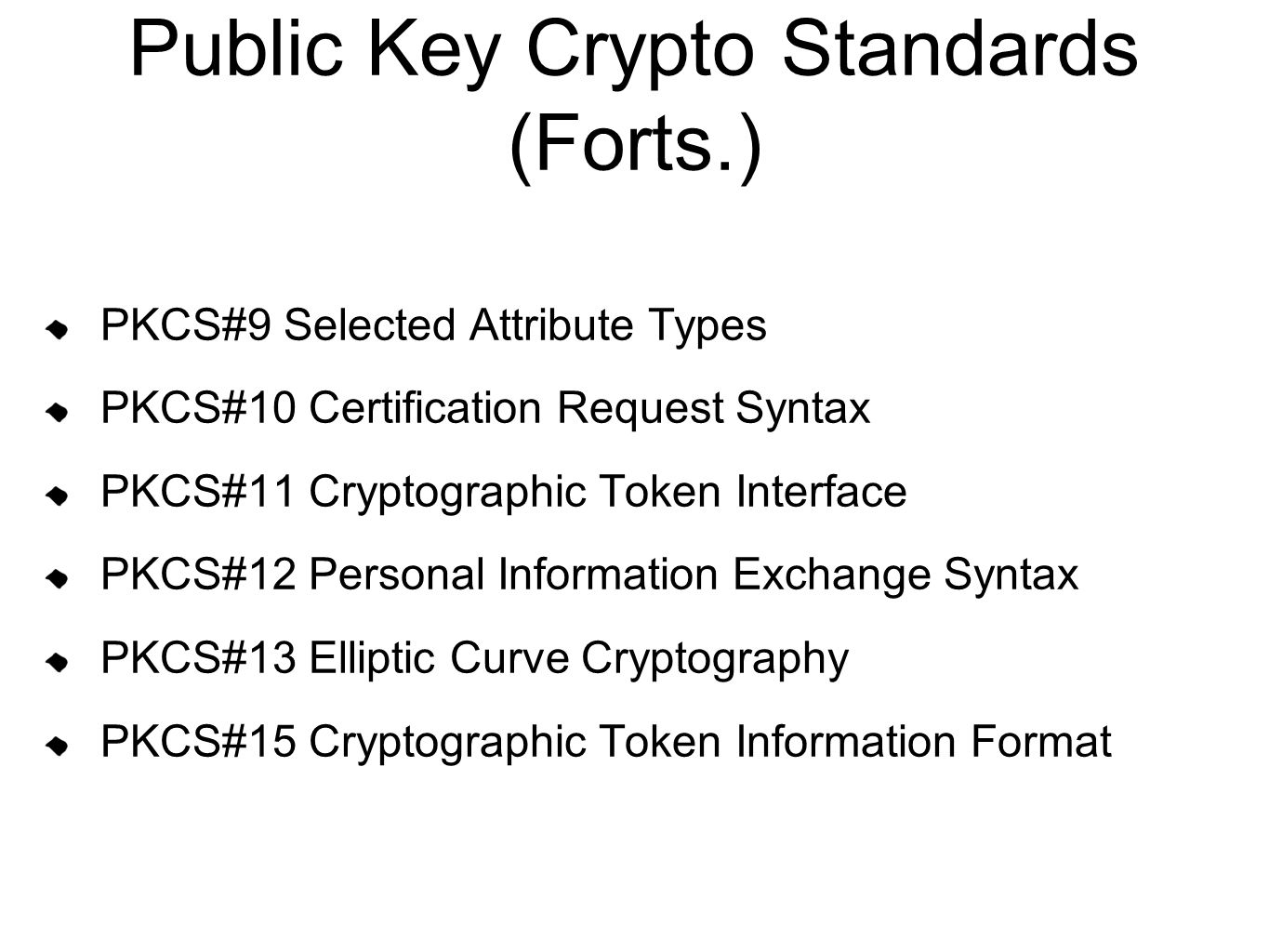 Public Key Crypto Standards (Forts.)