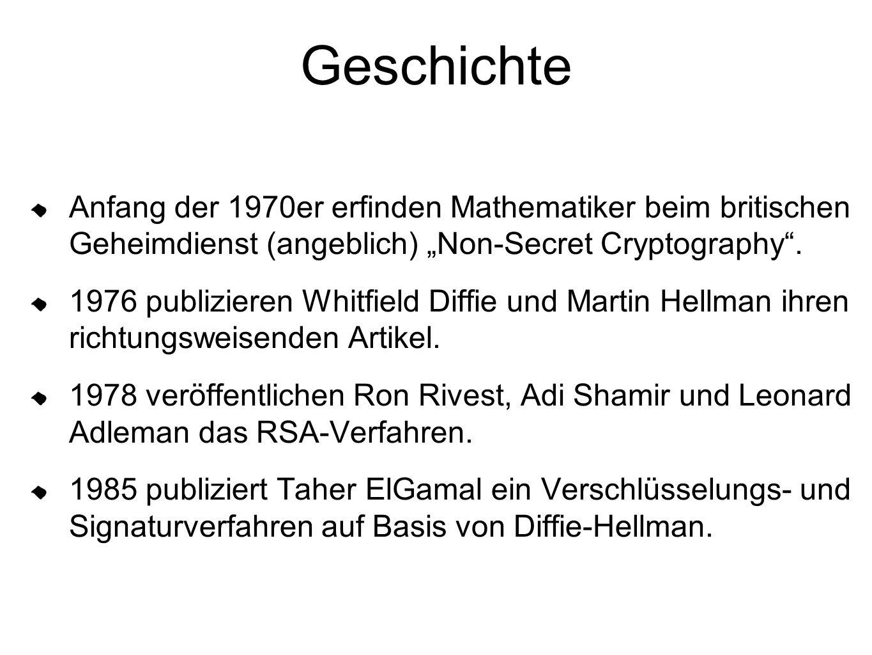 """Geschichte Anfang der 1970er erfinden Mathematiker beim britischen Geheimdienst (angeblich) """"Non-Secret Cryptography ."""