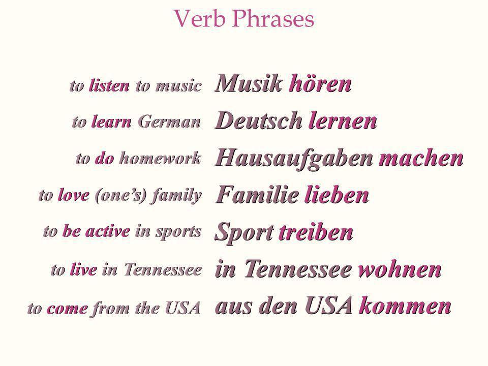 Musik hören Deutsch lernen Hausaufgaben machen Familie lieben