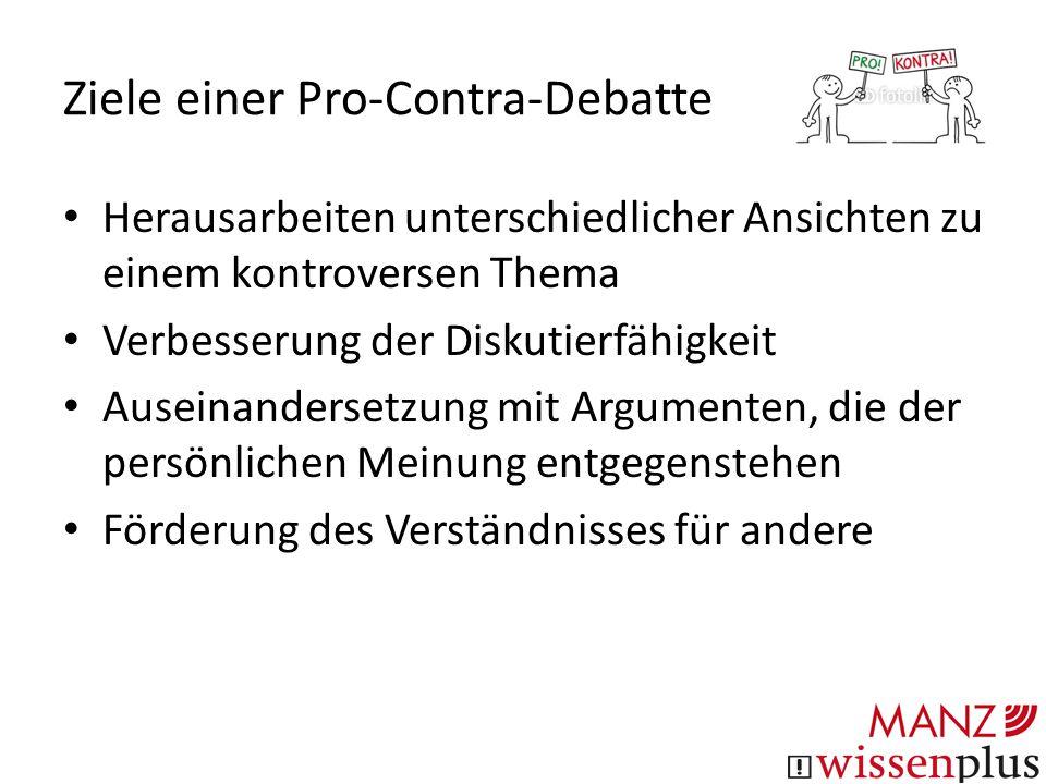 Ziele einer Pro-Contra-Debatte