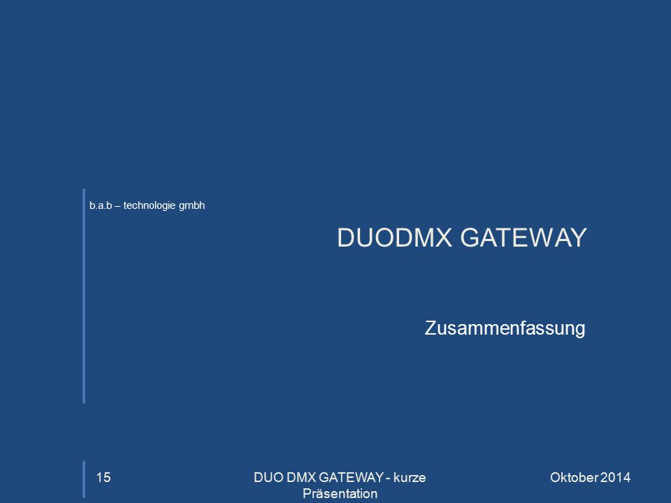 DUO DMX GATEWAY - kurze Präsentation