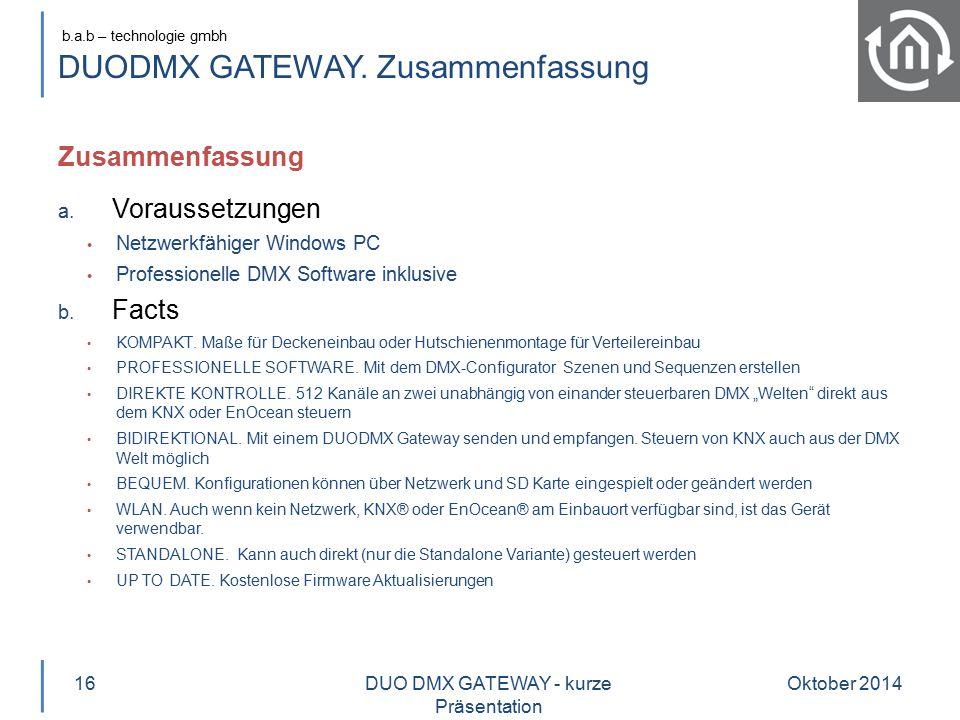 DUODMX GATEWAY. Zusammenfassung