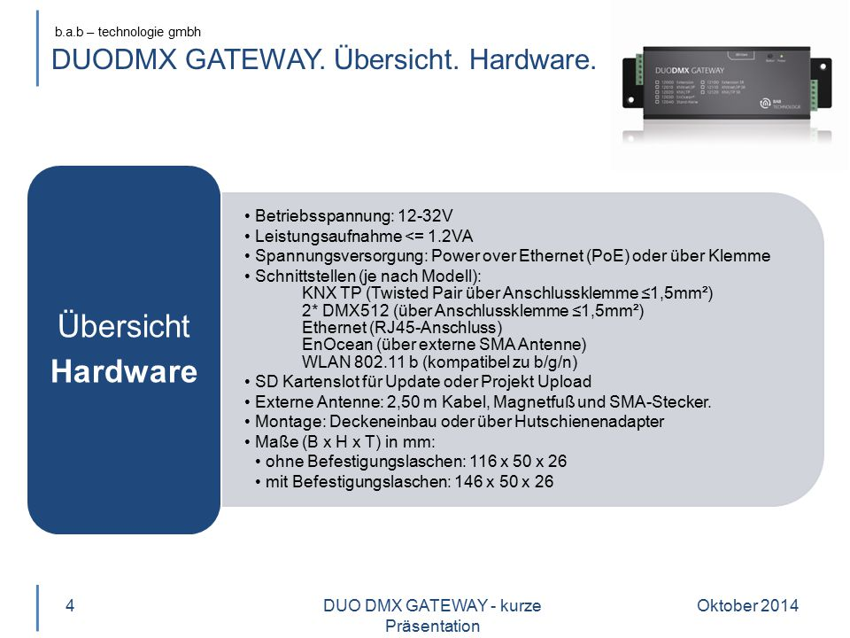 DUODMX GATEWAY. Übersicht. Hardware.