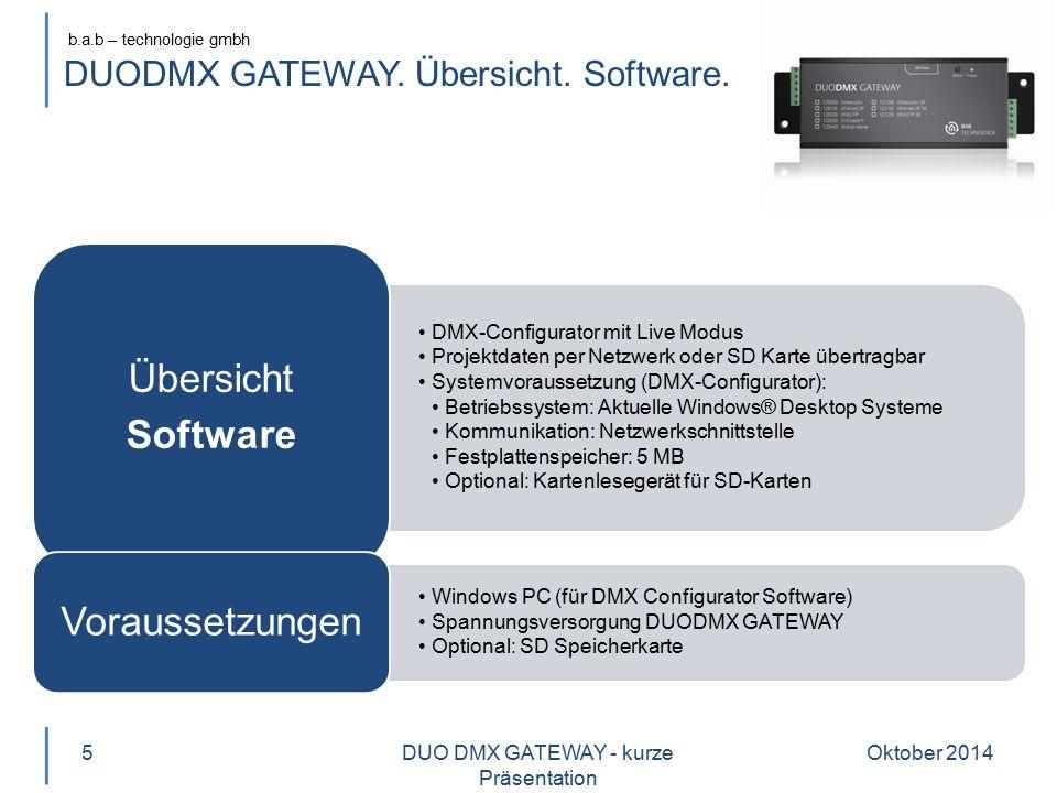 DUODMX GATEWAY. Übersicht. Software.