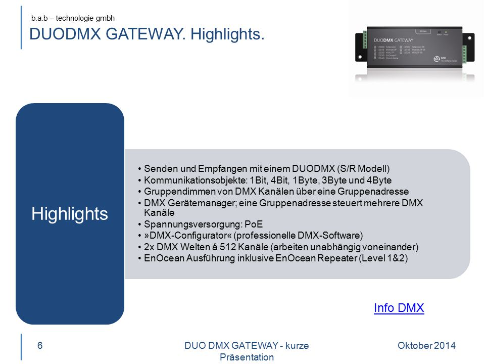 DUODMX GATEWAY. Highlights.