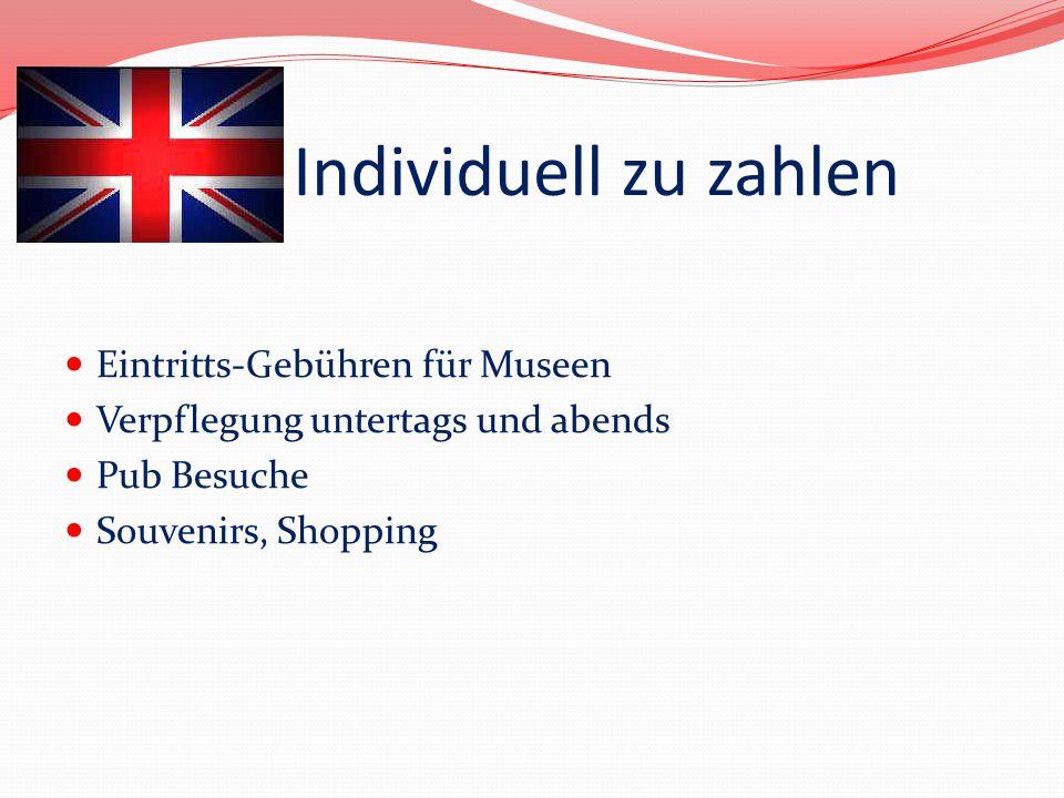 Individuell zu zahlen Eintritts-Gebühren für Museen
