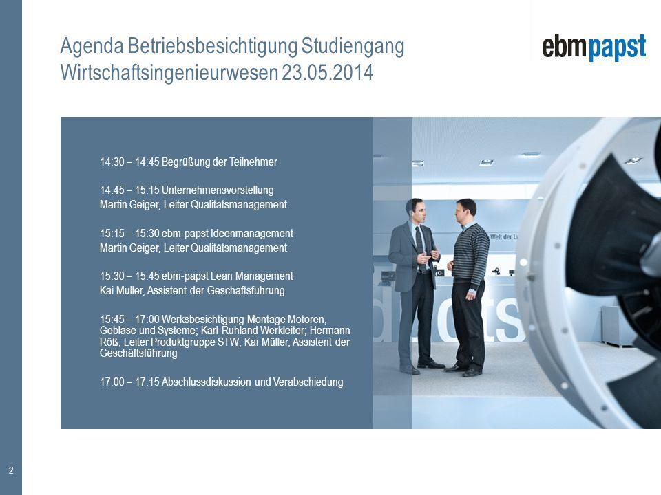 Agenda Betriebsbesichtigung Studiengang Wirtschaftsingenieurwesen 23