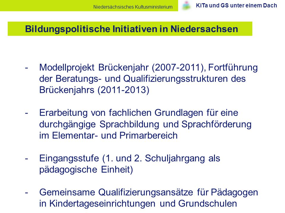 Bildungspolitische Initiativen in Niedersachsen