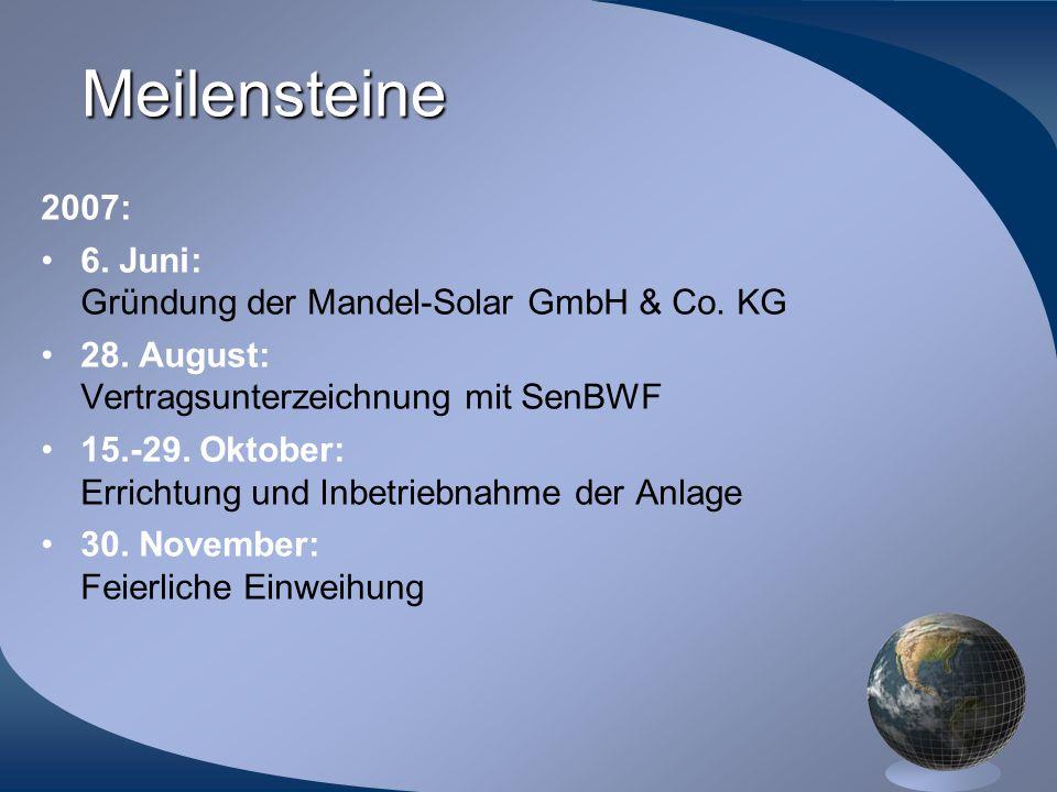 Meilensteine 2007: 6. Juni: Gründung der Mandel-Solar GmbH & Co. KG