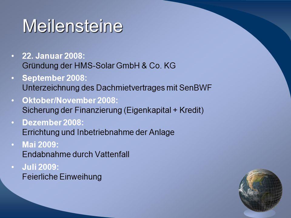 Meilensteine 22. Januar 2008: Gründung der HMS-Solar GmbH & Co. KG