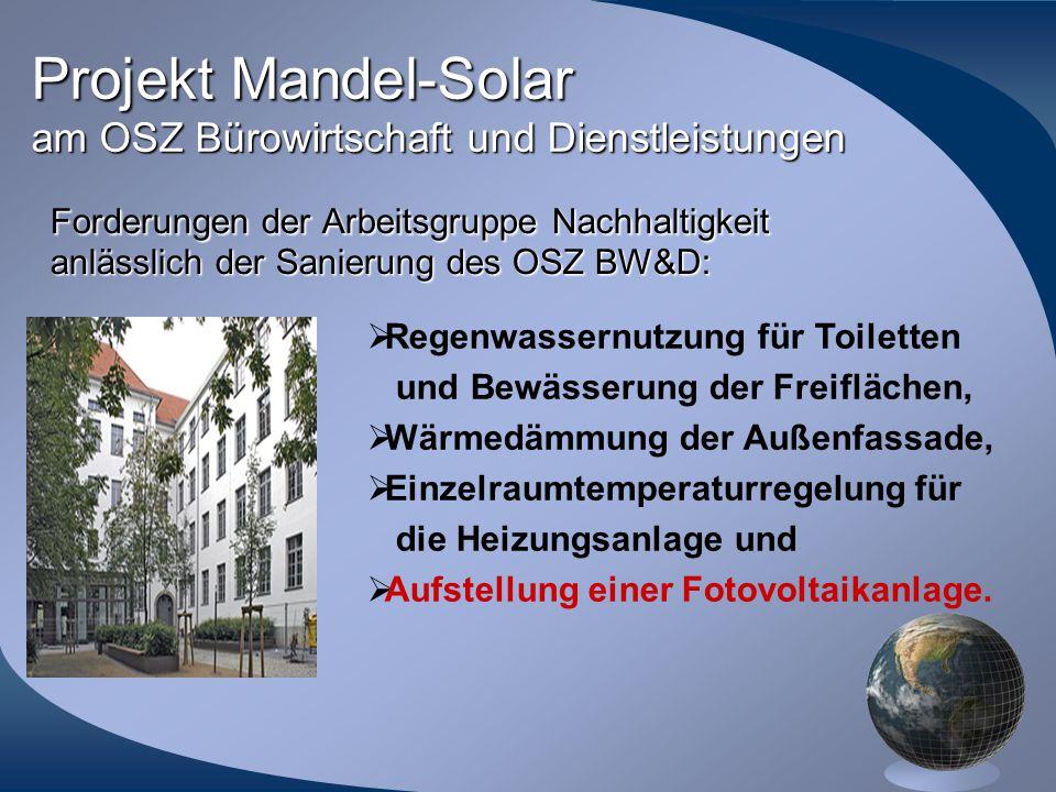 Projekt Mandel-Solar am OSZ Bürowirtschaft und Dienstleistungen