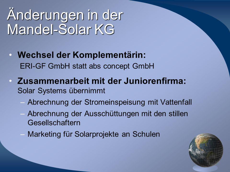 Änderungen in der Mandel-Solar KG