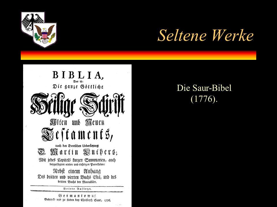 Seltene Werke Die Saur-Bibel (1776).