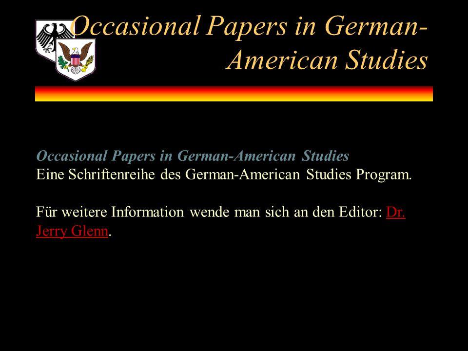 Occasional Papers in German-American Studies