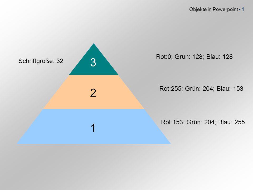 3 2 1 Rot:0; Grün: 128; Blau: 128 Schriftgröße: 32