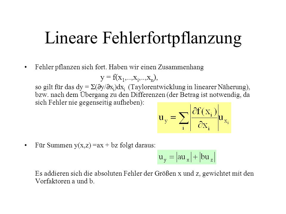Lineare Fehlerfortpflanzung