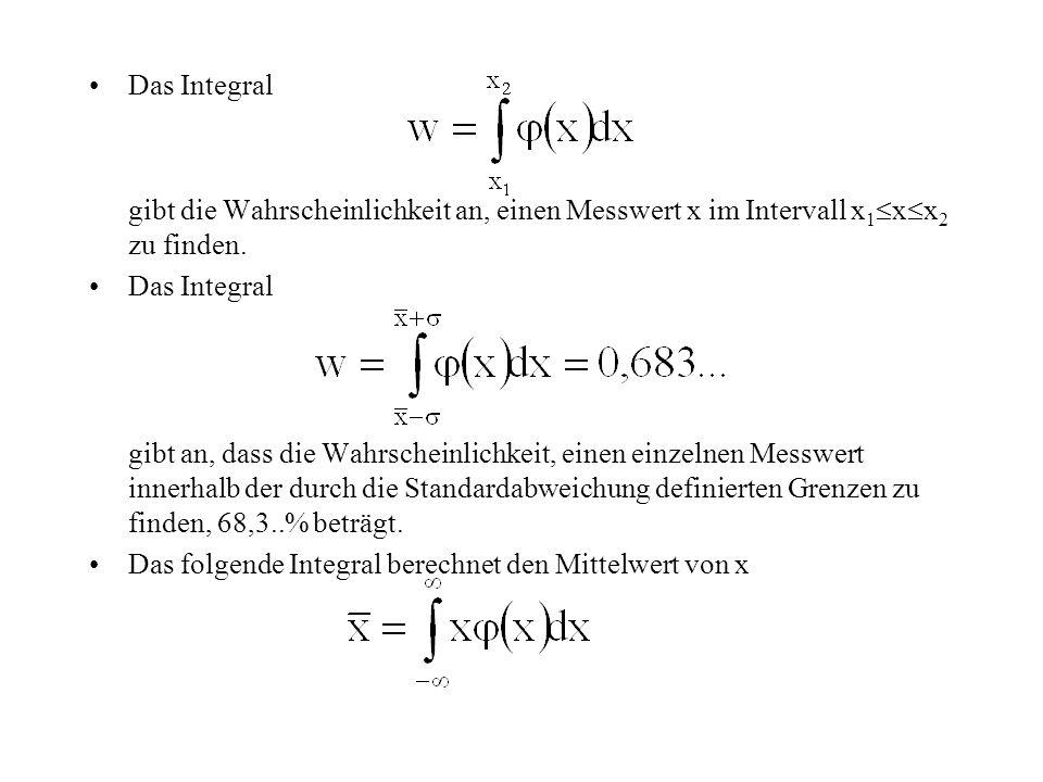 Das Integral gibt die Wahrscheinlichkeit an, einen Messwert x im Intervall x1xx2 zu finden.