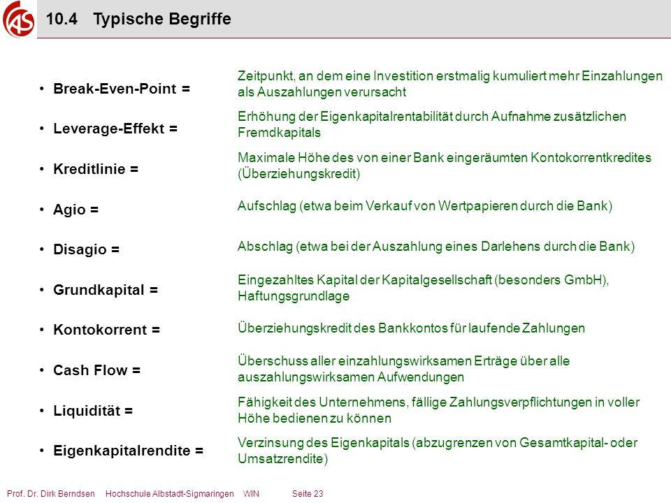 10.4 Typische Begriffe Break-Even-Point = Leverage-Effekt =