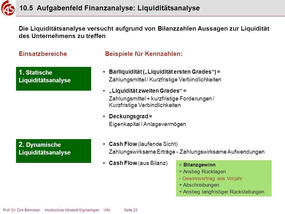 10.5 Aufgabenfeld Finanzanalyse: Liquiditätsanalyse