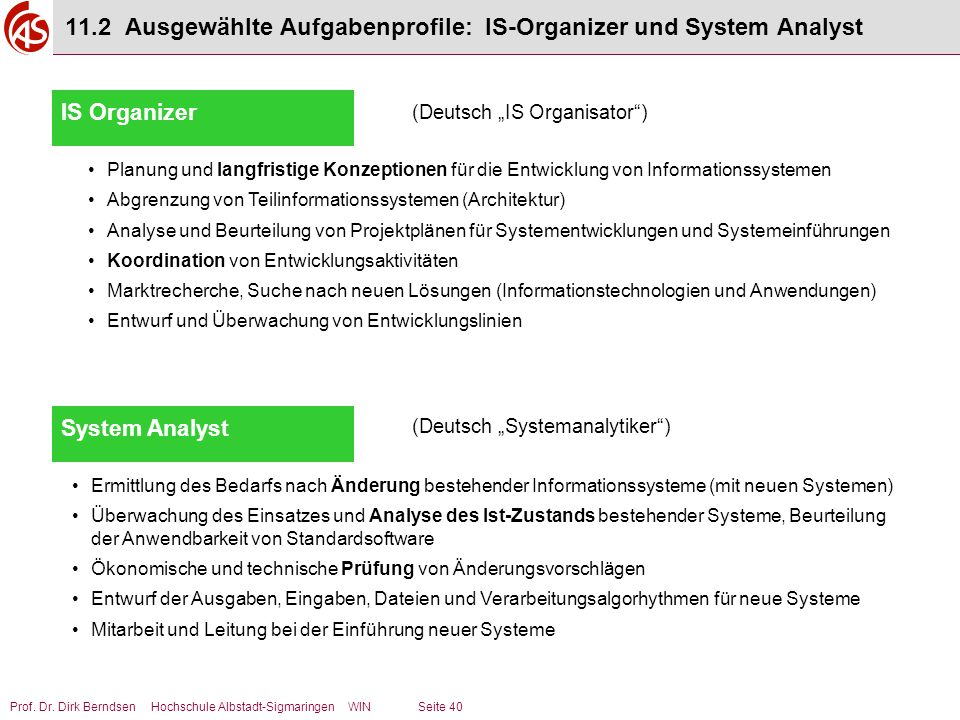 11.2 Ausgewählte Aufgabenprofile: IS-Organizer und System Analyst
