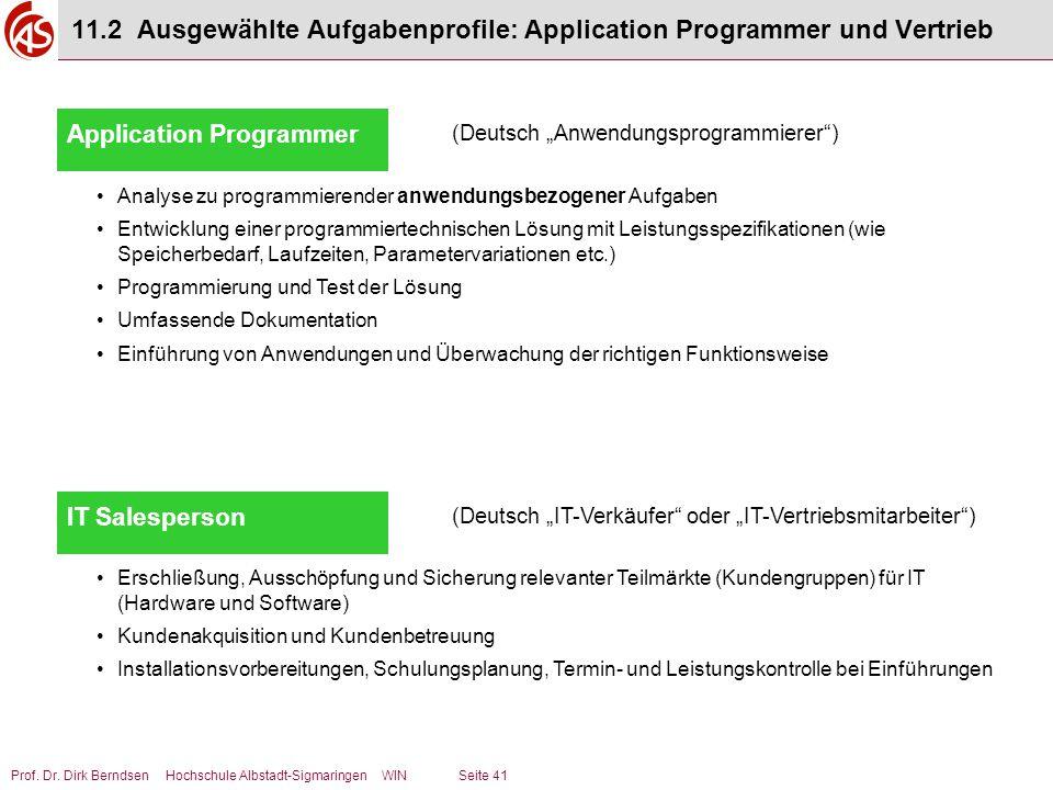 11.2 Ausgewählte Aufgabenprofile: Application Programmer und Vertrieb