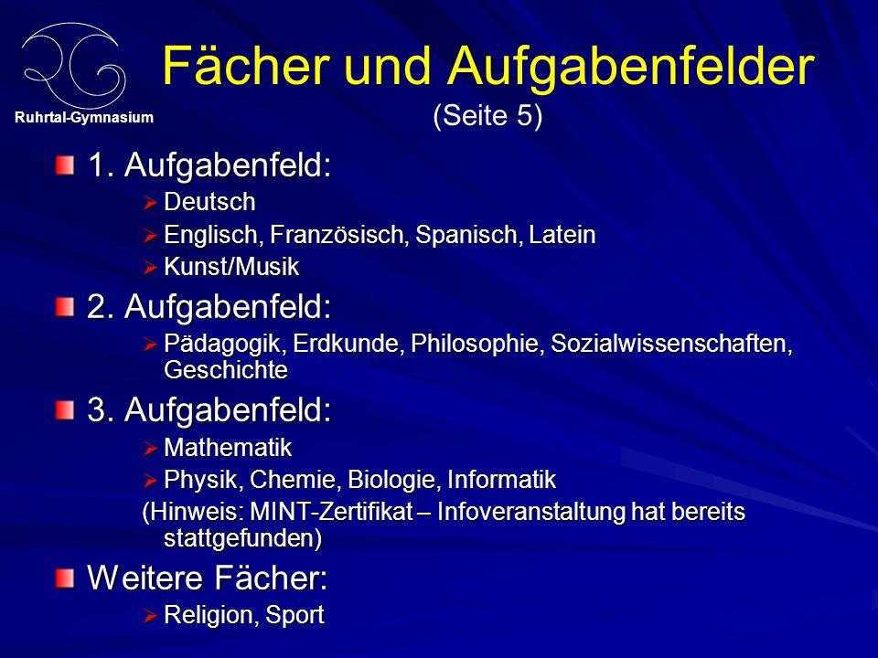 Fächer und Aufgabenfelder (Seite 5)