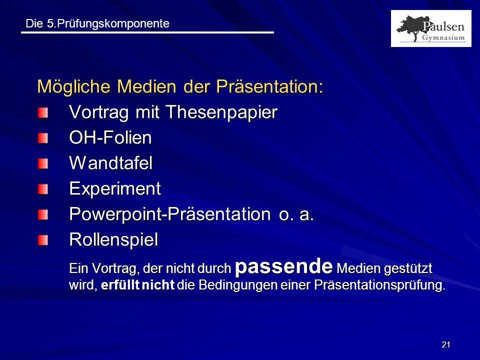 Mögliche Medien der Präsentation: Vortrag mit Thesenpapier OH-Folien