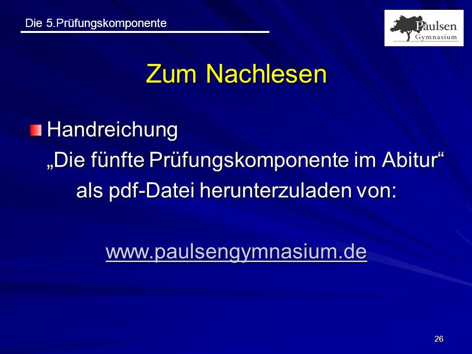 """Zum Nachlesen Handreichung """"Die fünfte Prüfungskomponente im Abitur"""