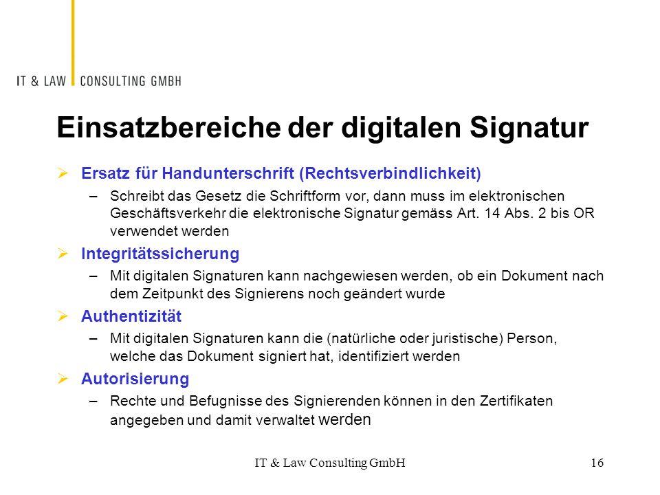 Einsatzbereiche der digitalen Signatur