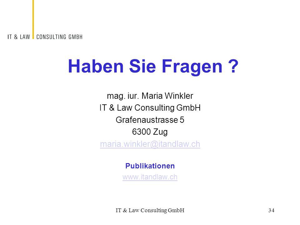 Haben Sie Fragen mag. iur. Maria Winkler IT & Law Consulting GmbH