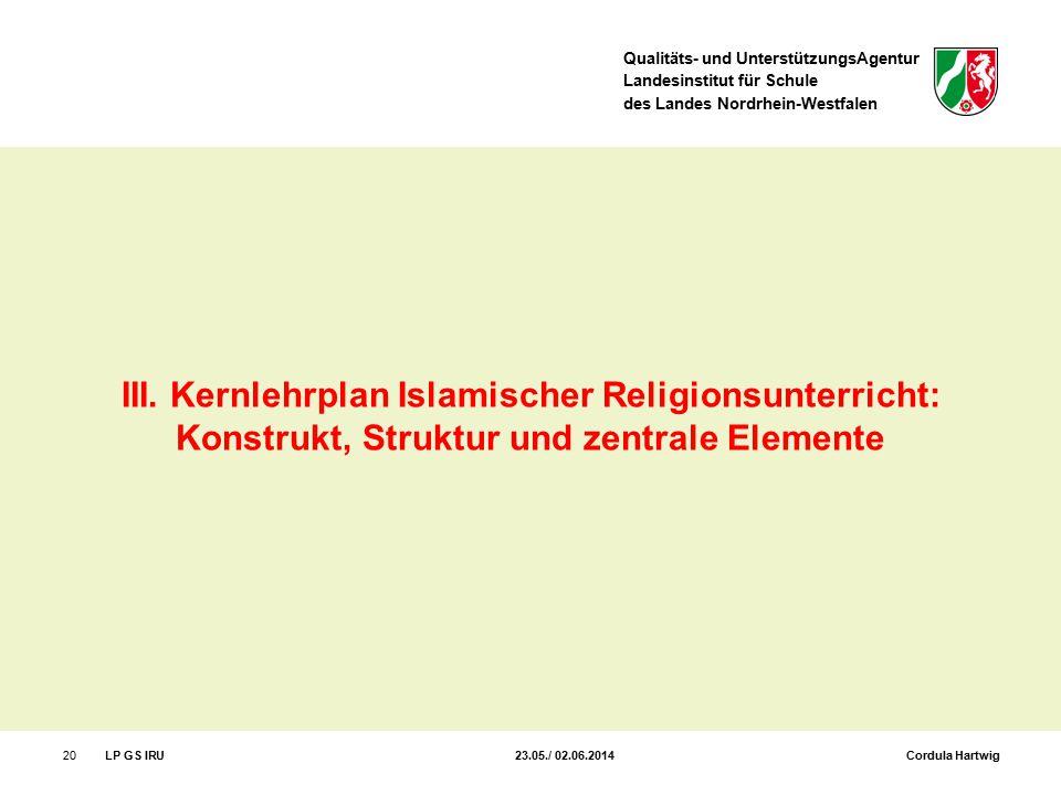 III. Kernlehrplan Islamischer Religionsunterricht: Konstrukt, Struktur und zentrale Elemente