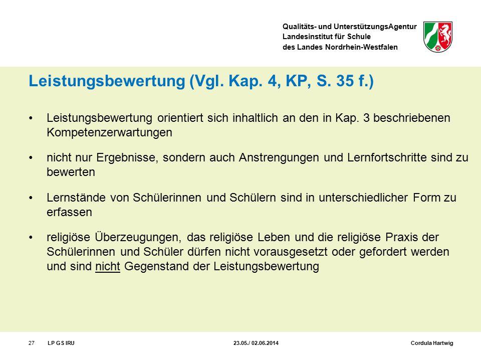 Leistungsbewertung (Vgl. Kap. 4, KP, S. 35 f.)