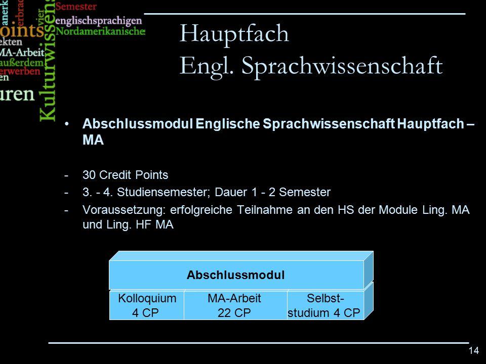 Hauptfach Engl. Sprachwissenschaft