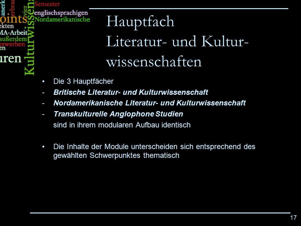 Hauptfach Literatur- und Kultur-wissenschaften