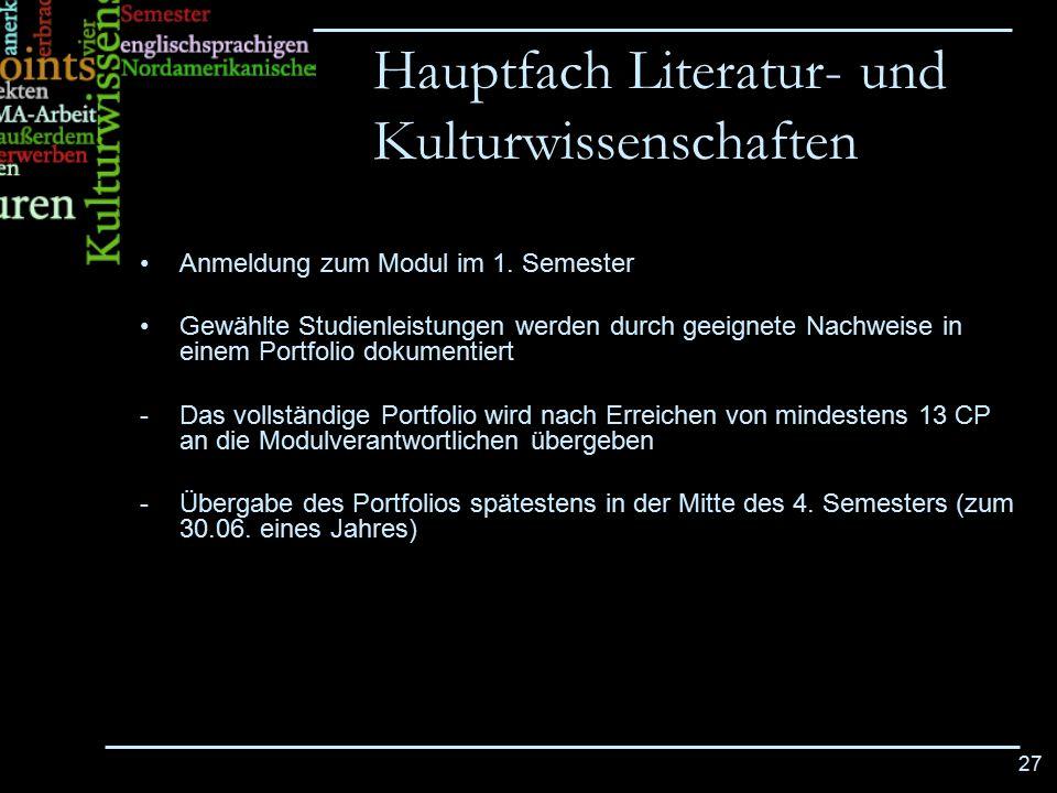 Hauptfach Literatur- und Kulturwissenschaften