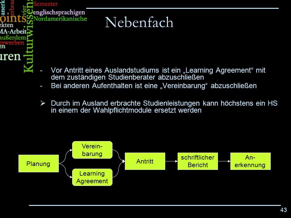 """Nebenfach Vor Antritt eines Auslandstudiums ist ein """"Learning Agreement mit dem zuständigen Studienberater abzuschließen."""
