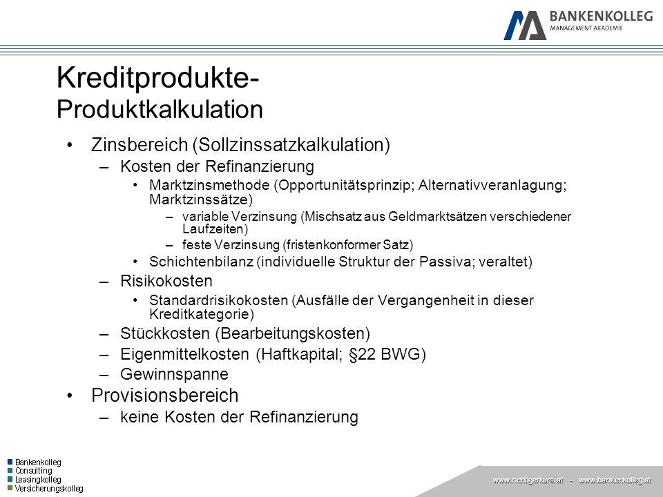 Kreditprodukte- Produktkalkulation