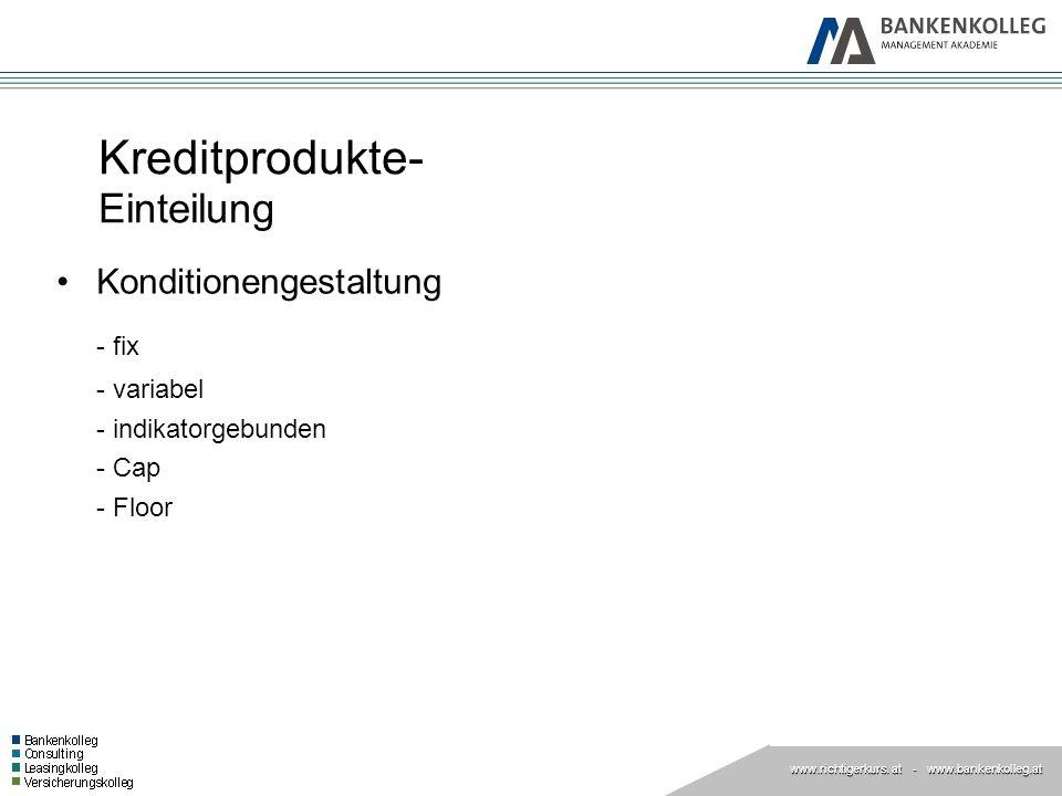 Kreditprodukte- Einteilung