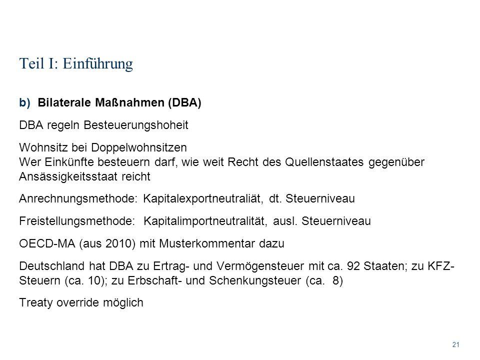 Teil I: Einführung Bilaterale Maßnahmen (DBA)
