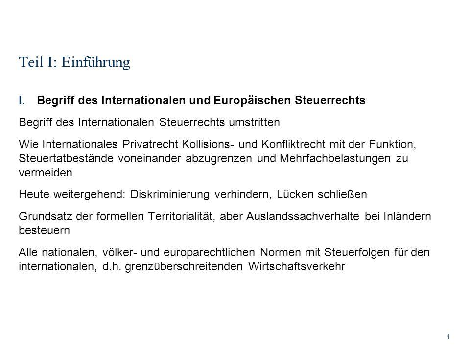 Teil I: Einführung Begriff des Internationalen und Europäischen Steuerrechts. Begriff des Internationalen Steuerrechts umstritten.